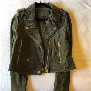 SLB olive forest green suede motorcycle jacket